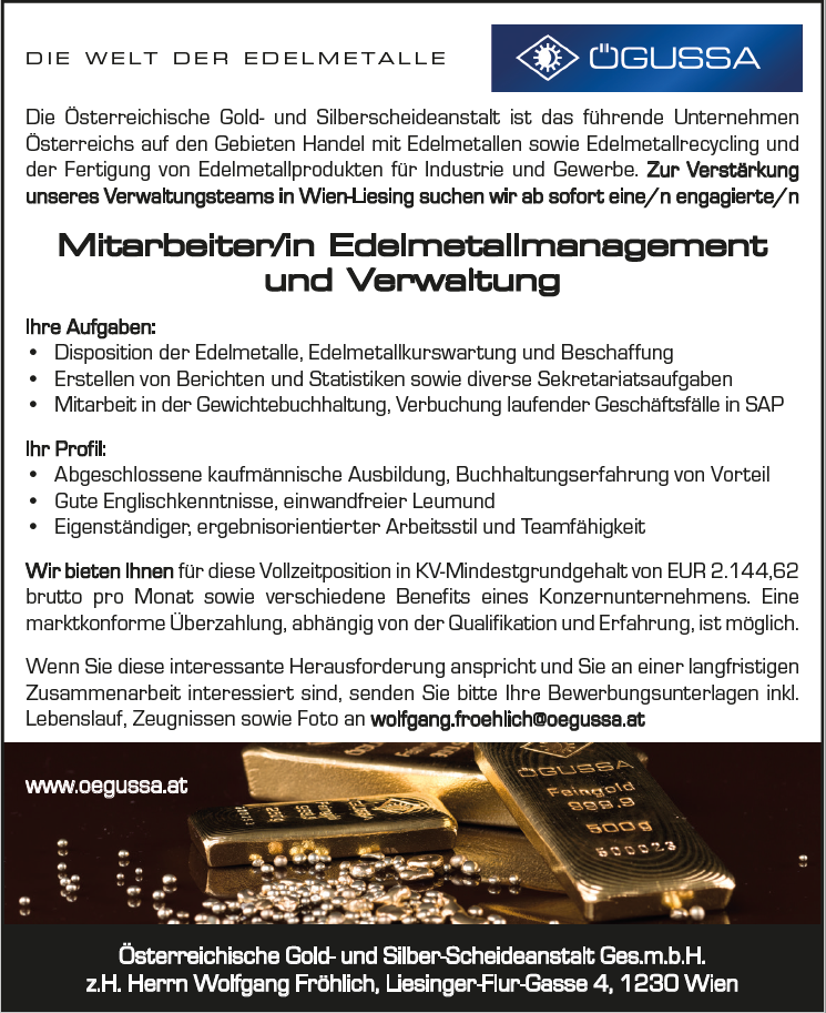 Mitarbeiter Edelmetallmanagement und Verwaltung