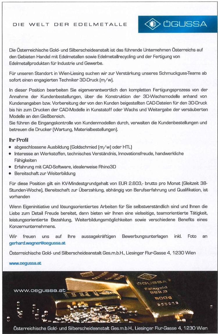 """Standard: """"Techniker für 3D-Druck"""""""